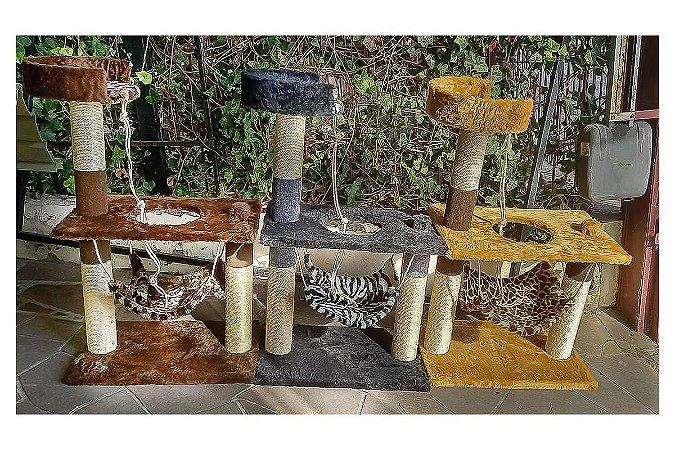 Brinquedo Arranhador Grande para Gatos com Rede, Corda e Base Alta