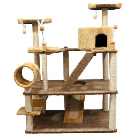 Arranhador Olimpus em Pelúcia Lisa Marrom e Sisal com 3 Plataformas