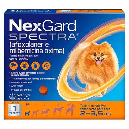 Antipulgas e Carrapatos NexGard Spectra para Cães de 2 a 3,5Kg C/1 Tablete