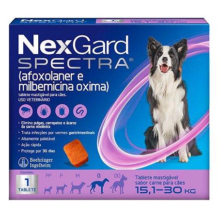 Antipulgas e Carrapatos NexGard Spectra para Cães de 15,1 a 30Kg C/1 Tablete