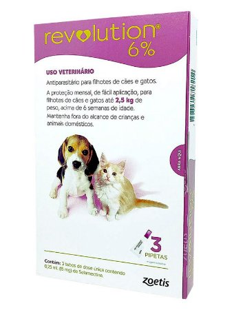 Antipulgas e Carrapatos Revolution 6% Zoetis para Filhotes de Cães e Gatos até 2,5kg com 3 pipetas de 0,25mL (15mg)