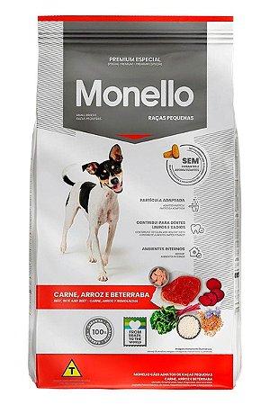 Ração Monello Premium Especial Sabor Carne, Arroz e Beterraba para Cães Adultos de Raças Pequenas - 10,1kg