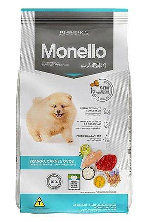 Ração Monello Premium Especial Sabor Frango, Carne e Ovos para Cães Filhotes de Raças Pequenas - 10,1kg