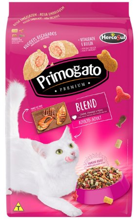Ração Primogato Premium Blend Sabor Carne, Frango e Peixe para Gatos Adultos - 10,1kg ou 20kg