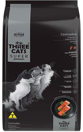 Ração Three Cats Super Premium para Gatos Castrados 6 Meses + Sabor Salmão - 15Kg