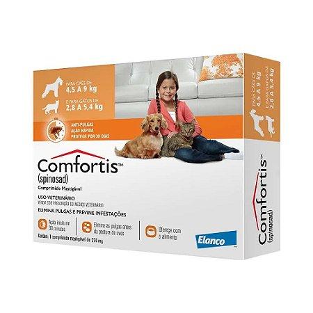 Combo com 3 Antipulgas Elanco Comfortis 270 mg - Cães de 4,5 a 9Kg e Gatos de 2,8 a 5,4Kg