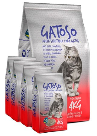 5 Pacotes de 4kg - Areia Sanitária Gatoso para Gatos