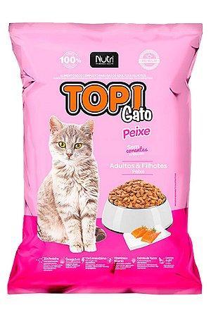 Ração Topi Gato Sabor Peixe para Gatos Adultos e Filhotes - 7kg
