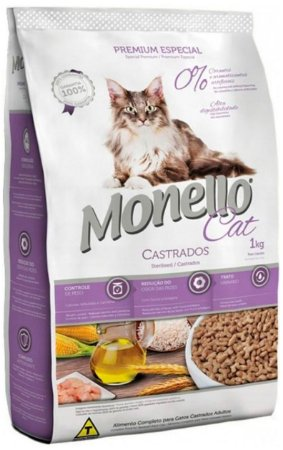 3x Ração Monello Cat para Gatos Adultos Castrados de 10,1Kg
