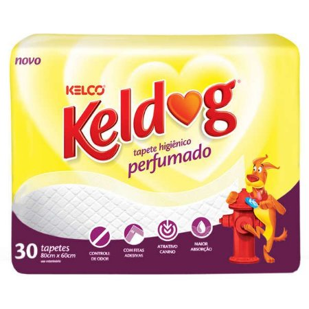 Tapete Higiênico Kelco Keldog Perfumado com 30 unidades de 80x60cm