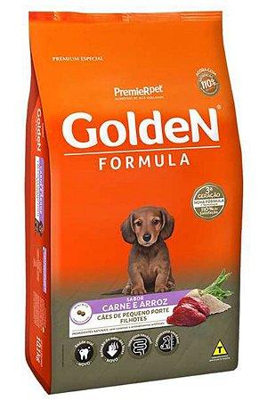 Ração Golden Fórmula Mini Bits Para Cães Filhotes Raças Pequenas Sabor Carne e Arroz - 3kg