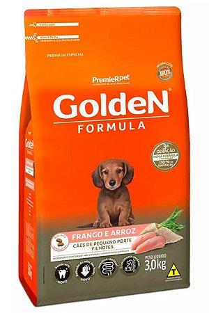 Ração Golden Fórmula Mini Bits Para Cães Filhotes Raças Pequenas Sabor Frango e Arroz - 3kg