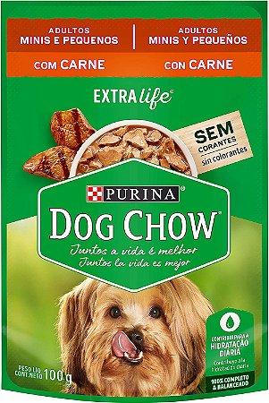 Ração Úmida Nestlé Purina Dog Chow Sachê Sabor Carne para Cães Adultos Raças Minis e Pequenas - 100g