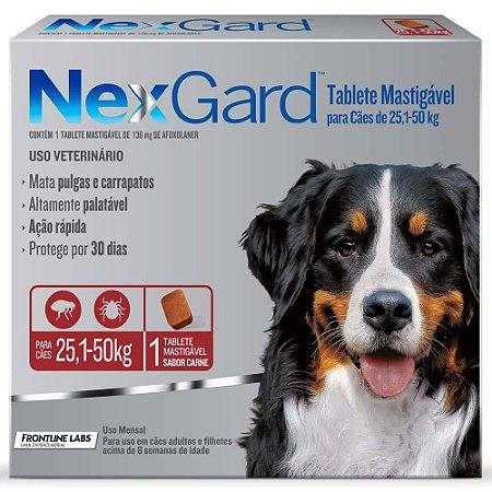 Nexgard Antipulgas E Carrapatos Cães 25,1 A 50kg C/1 Comprimido Avulso
