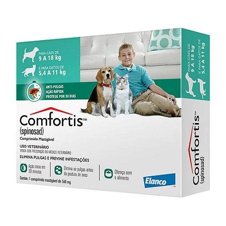 Antipulgas Elanco Comfortis 560 mg - Cães de 9 a 18Kg e Gatos de 5,5 a 11Kg - Dose Única