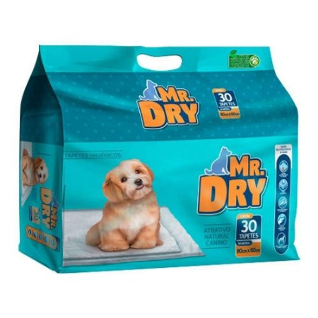 Tapete Higiênico Mr. Dry com 30 unidades de 80x60cm