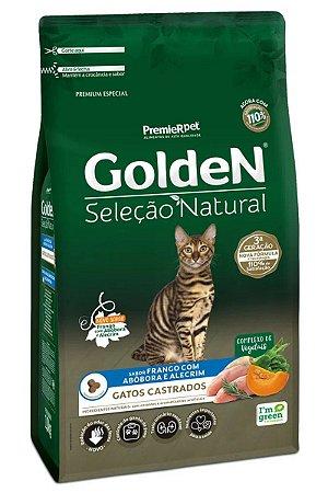 Ração Golden Seleção Natural Sabor Frango com Abóbora e Alecrim para Gatos Castrados - 10,1kg