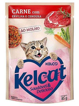 Ração Úmida Kelcat Sachê Sabor Carne com Ervilha e Cenoura para Gatos Adultos - 85g