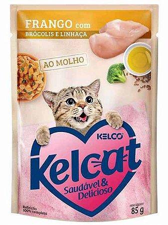 Ração Úmida Kelcat Sachê Sabor Frango com Brócolis e Linhaça para Gatos Adultos - 85g