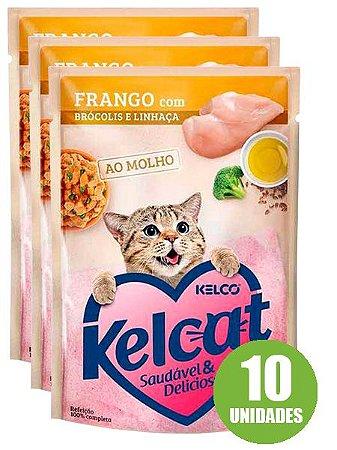 Ração Úmida Kelcat Sachê Sabor Frango com Brócolis e Linhaça para Gatos Adultos 85g - 10 unidades