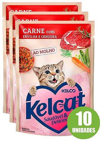 Ração Úmida Kelcat Sachê Sabor Carne com Ervilha e Cenoura para Gatos Adultos 85g - 10 unidades