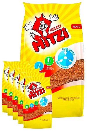 6 Pacotes de 4kg - Areia para Gatos Mitzi Kelco Granulado Sanitário