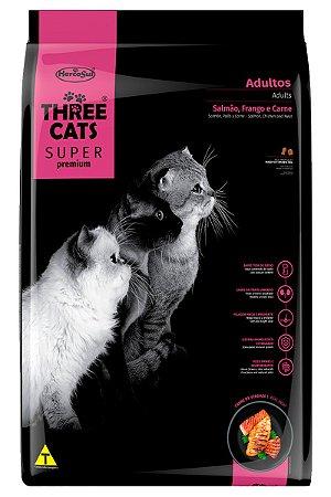 Ração Three Cats Super Premium Sabor Salmão, Frango e Carne para Gatos Adultos - 15Kg