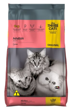Ração Three Cats Premium Especial Sabor Carne para Gatos Adultos - 10,1Kg