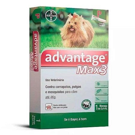 Antipulgas e Carrapatos Bayer Advantage MAX3 para Cães de até 4Kg - 1 Bisnaga de 0,4 mL