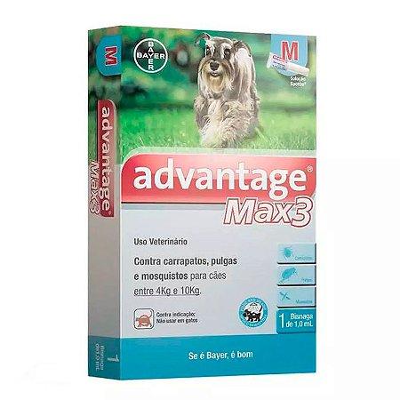 Antipulgas e Carrapatos Bayer Advantage MAX3 para Cães de até 4Kg a 10Kg - 1 Bisnaga de 1,0 mL