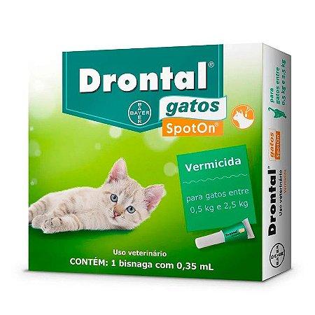 Vermífugo Drontal SpotOn para Gatos de 0,5Kg a 2,5Kg - 1 Bisnaga de 0,35 mL