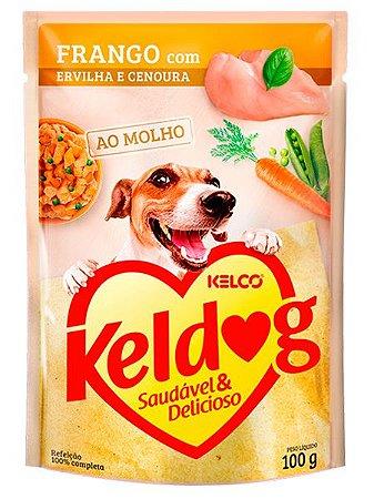 Ração Úmida Keldog Sachê Sabor Franco com Ervilha e Cenoura para Cães Adultos - 100g