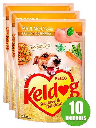 Ração Úmida Keldog Sachê Sabor Franco com Ervilha e Cenoura para Cães Adultos 100g - 10 unidades