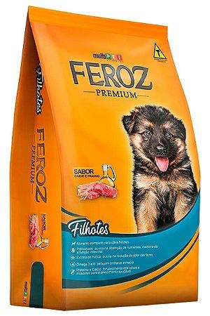 Ração Feroz Premium Sabor Carne e Frango para Cães Filhotes - 8kg