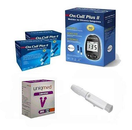 Aparelho De Glicemia 100 Tiras On Call Plus 100 Lancetas