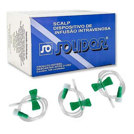 Escalpe Descartável Estéril Scalp 21g Solidor - 100 Unidades