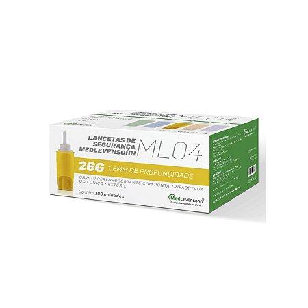 Lanceta Trava Segurança 26g 1.8mm Amarela Medlevensohn