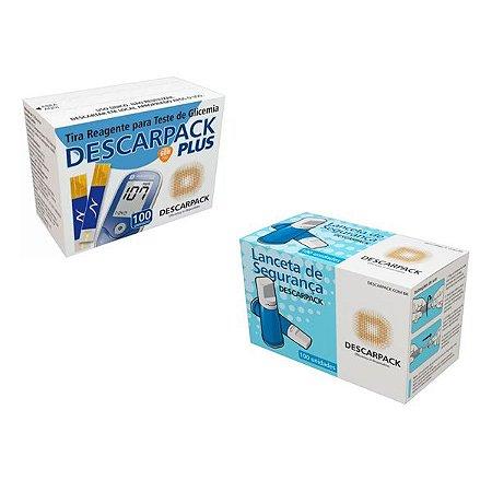 100 Tiras Glicemia 100 Lancetas Automática Descarpack Plus