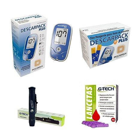 Monitor Glicemia Aparelho Medir Glicose 50 Tiras 50 Lancetas