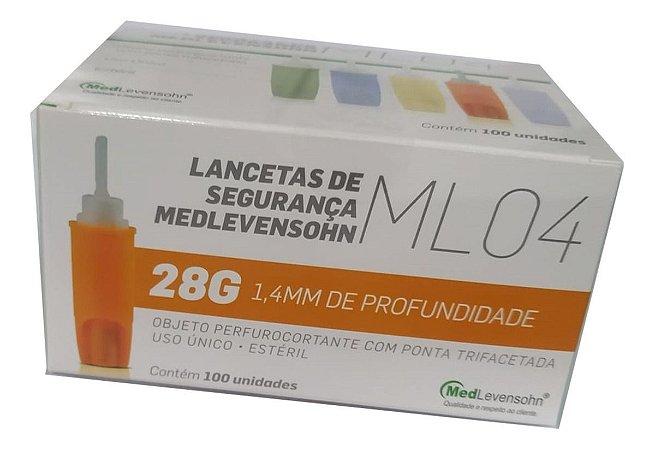 Lanceta De Segurança Ml04 Medlevensohn 28g C/100 Unidades