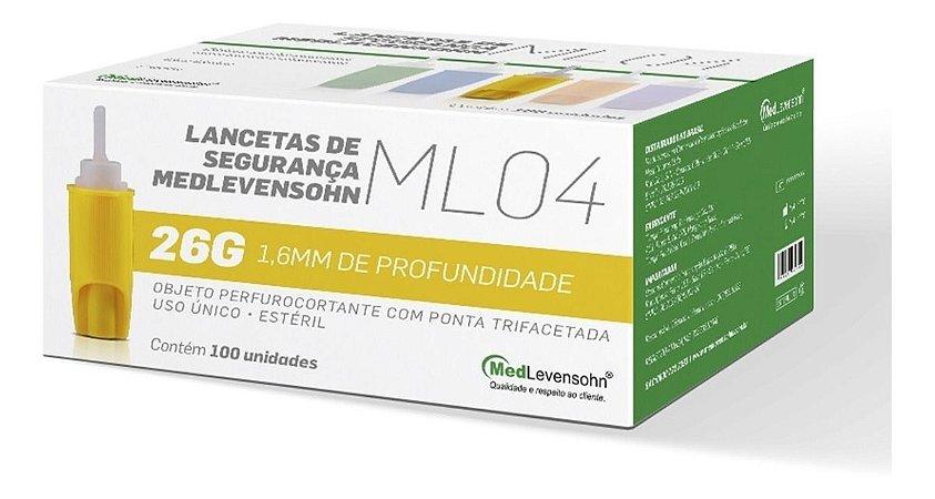 Lanceta De Segurança Ml04 Medlevensohn 26g C/100 Unidades