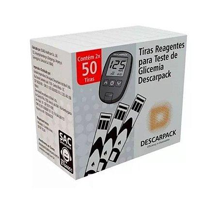 100 Tiras Reagentes Descarpack Teste De Glicemia