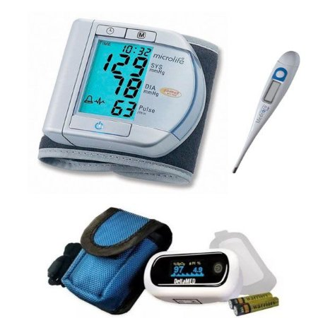 Kit Aparelho De Pressão Digital Oximetro E Termometro