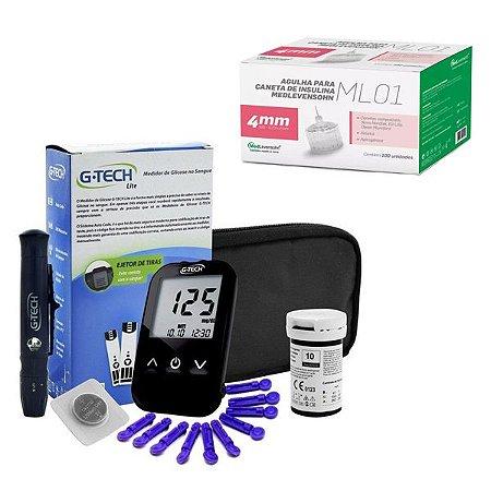 Aparelho Glicemia G-tech Lite E Agulha Caneta Insulina 4mm