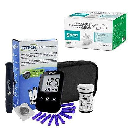 Aparelho Glicemia G-tech Lite E Agulha Caneta Insulina 5mm