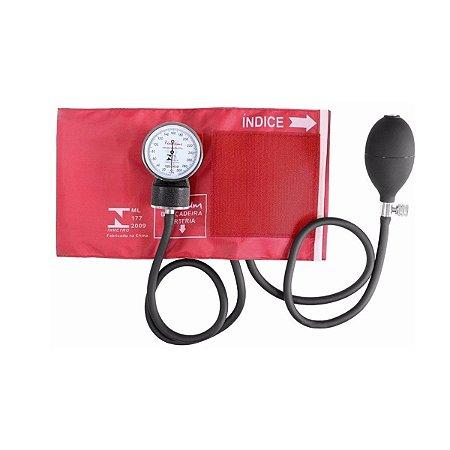 Aparelho Medidor De Pressão Esfigmomanômetro Premium - Vermelho