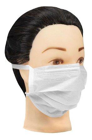 Máscara Facial Descartável Branca Não Tecido Com Tira 25 Un