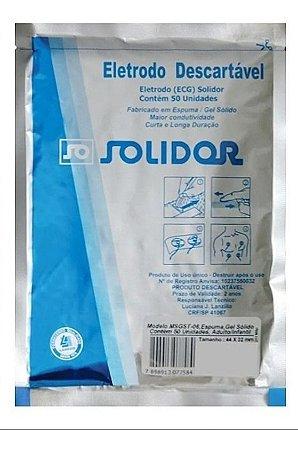 Eletrodo Descartável Ecg Gel Sólido Espuma Solidor - 50uni