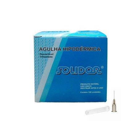 Agulha Hipodérmica Descartável 13 x 0,45mm Solidor - 100 unidades
