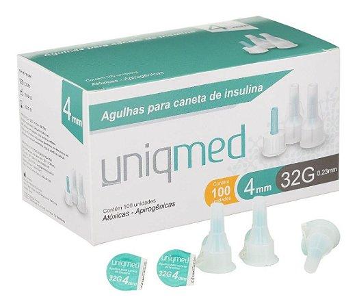 Agulha Para Caneta De Insulina 4mm 32g Com 100un - Uniqmed